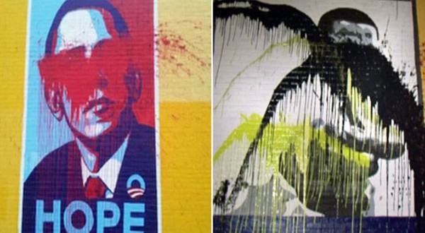 Obama mural across from Houston's 'Breakfast Klub' defaced