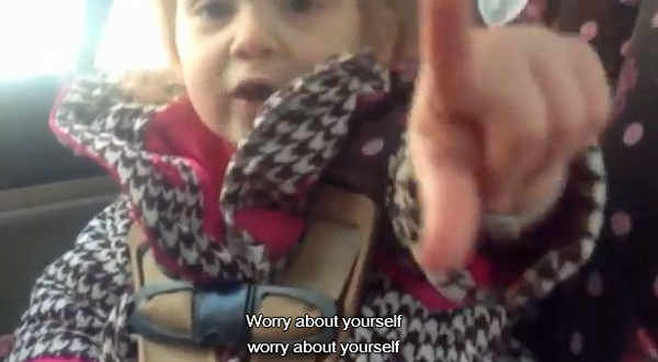 Viral video:  Cute tot tells dad 'worry about yourself!'