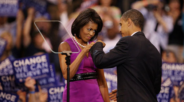 """President Barack Obama and First Lady Michelle """"fist bump"""""""