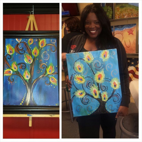 @NewsWitAttitude: Who's cuter..me or painting? Aww, shucks! HAD A BLAST finding my creativity at #PaintingWithATwist in @VisitGrapevine