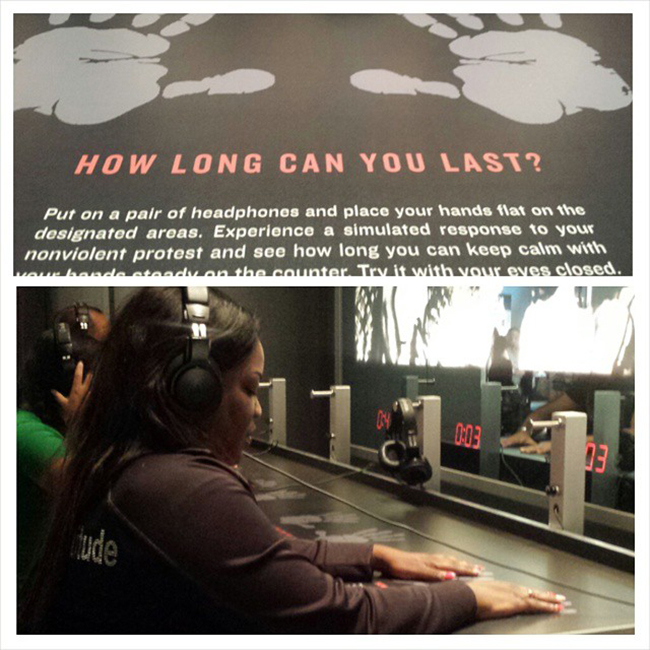 """@NewsWitAttitude: If more of us would try to experience history. .or RESPECT history, there would be less violence and more understanding today. I visited the Civil Rights Museum and did the """"lunch counter experience""""... it was moving...scary. ..and humbling. You close your eyes, put on headphones and listen as you're threatened, called names and yes, your chair actually jolts and moves as they try to shake you. You can see what those brave young men and women fighting for freedom went through. .and you'll appreciate what you have today."""