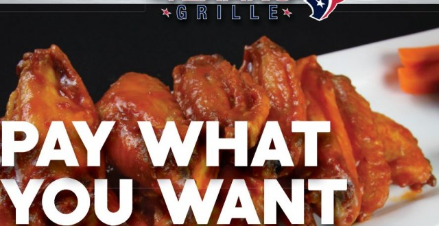"Houston Texans Grille offers ""pay what you want"" pricing; proceeds to benefit veterans"