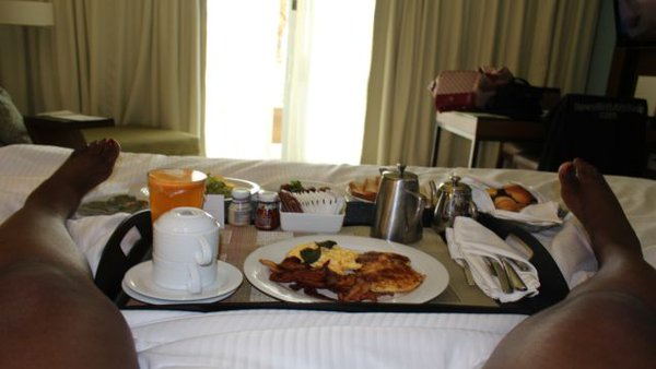 """@NewsWitAttitude: Breakfast in bed & room with AWESOME view @westinpuntacana.""""Anything else would be uncivilized"""" 4 the birthday girl!"""