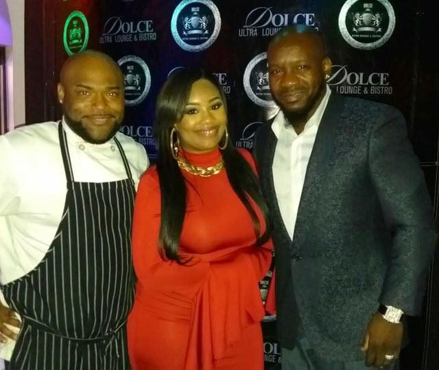 Dolce Ultra Lounge and Bistro Executive Chef Javani King, Crystal Solomon, publicist, and owner Al Rucker.