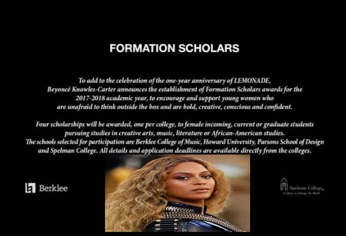 "Beyoncé launches ""Formation Scholars"" award"