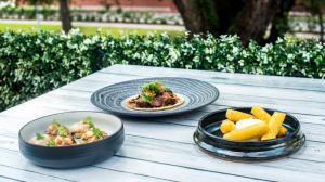 Cafe Azur Bruschetta, Duck Confit Taco, Panisse