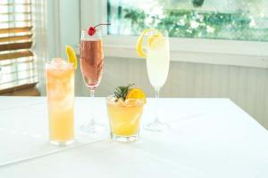 Cafe Azur French 75, Kirl Royal, Elderflower Cocktail, Rosemary Orange Cocktail