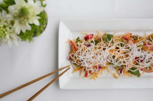 Crunch Vegetable Salad with chopsticks