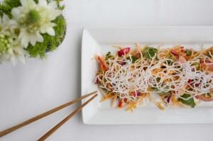 Crunch Vegetable Salad with chopsticks
